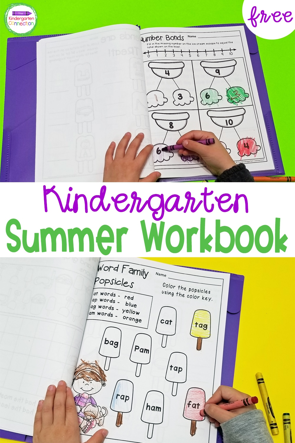 Grab this free printable Summer Homework for Kindergarten sampler pack to send home with your students to keep their skills sharp over break!