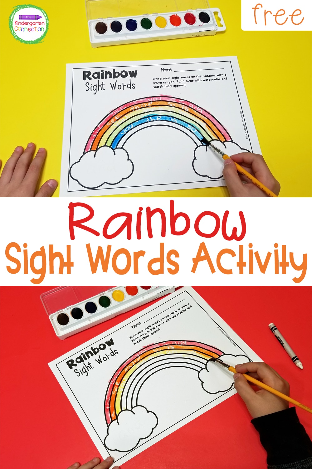 """Create """"magical"""" rainbow sight words with this fun and free activity! Your kids will love writing sight words and watching them appear!"""