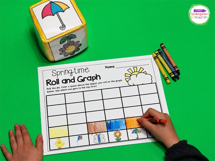 Roll the dice and race to the top of the graph in this super fun Spring Roll and Graph game.