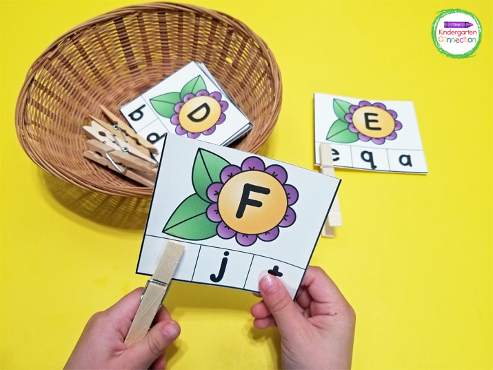 For these fun, hands-on alphabet clip cards, kids pick a letter card from the basket and use a clothespin to clip its match.