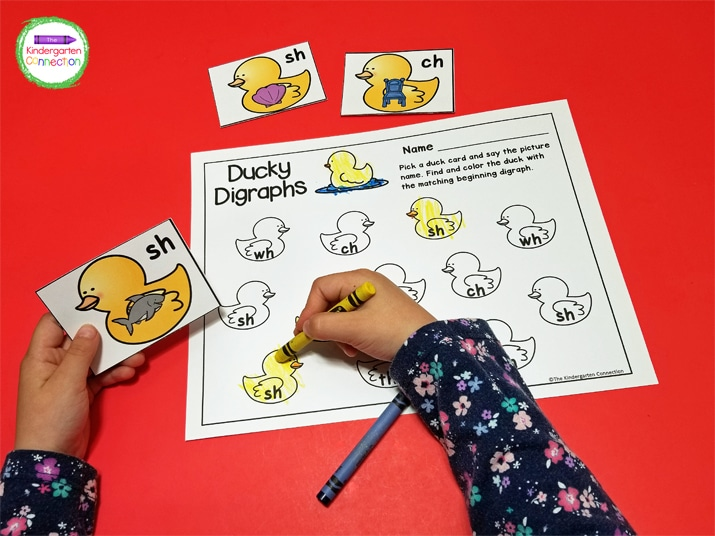 Students pick a duck card find and color the duck on the recording sheet with the matching beginning digraph.