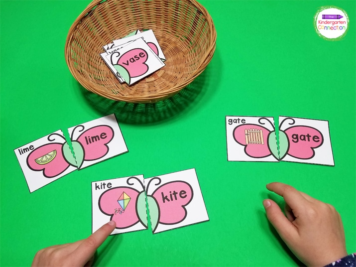 These CVCe puzzles are engaging and your students will love matching up the butterlies!