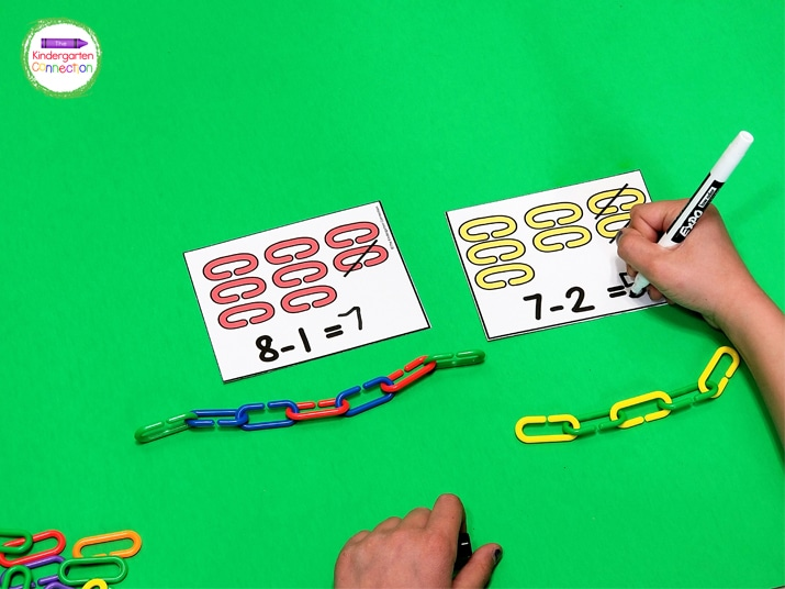 Students will work on subtraction in a hands-on way like with these links and subtraction cards.