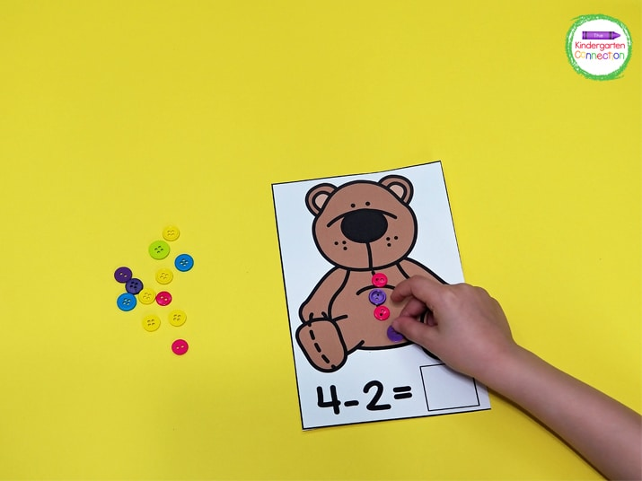 Students can model subtraction equations using buttons on these cute teddy bear subtraction mats.
