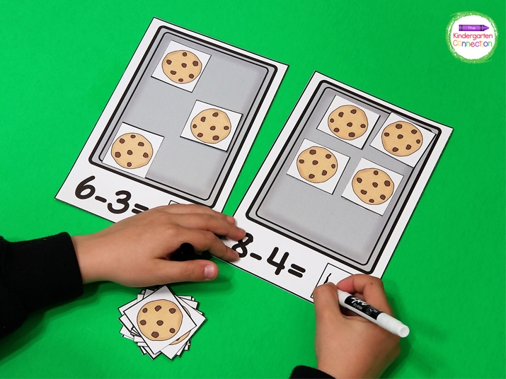 This low-prep cookie subtraction mat resource will have your kids building subtraction problems and recording the answer.