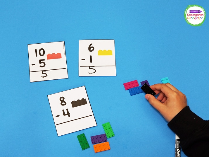 Model subtraction in a hands-on way with these brick subtraction cards.