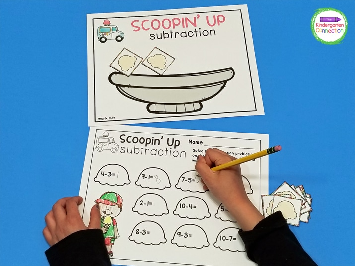 """Children will use the ice cream sundae work mat and ice cream scoops to model subtraction equations in this """"Scoopin' Up"""" activity."""