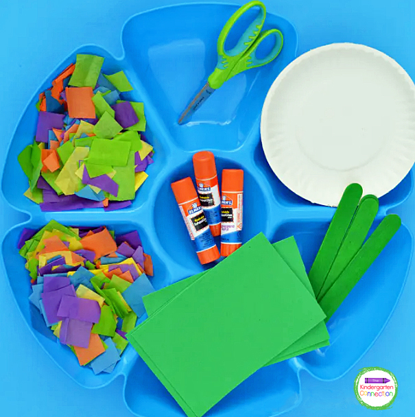 Sorting crafting supplies into trays makes them clearly visible and easily accessible for kids.