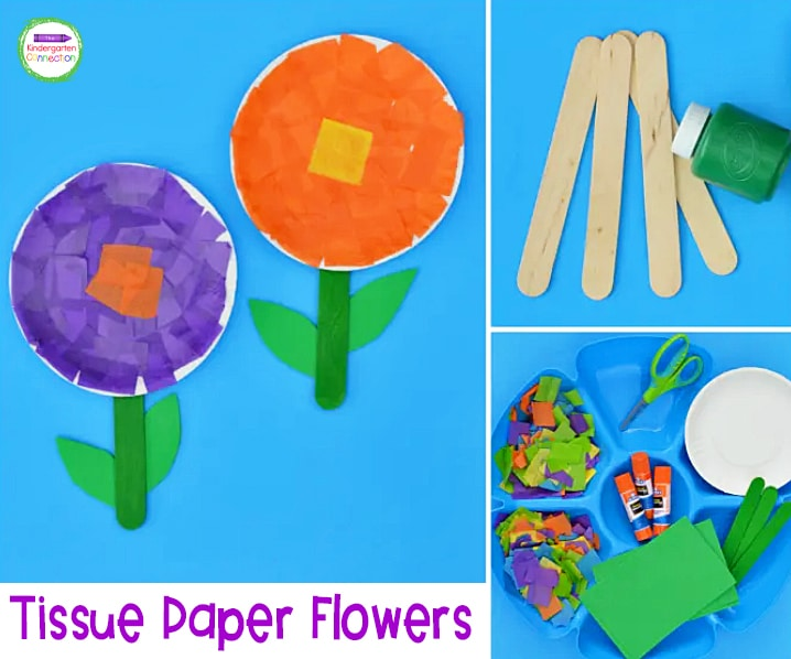 This tissue paper flower craft is simple, fun, and your kids will love it!