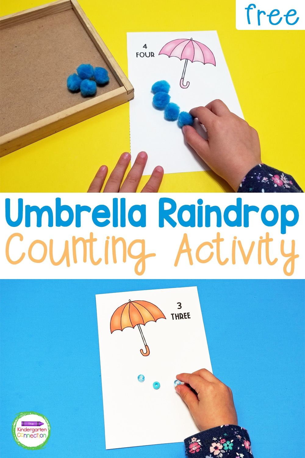 Practice one-to-one correspondence and fine motor skills with this FREE printable Umbrella Raindrop Counting Activity for Kindergarten!