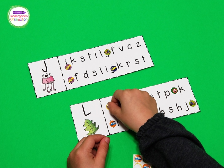 Using stickers to cover the matching letters is also a great option for strengthening fine motor muscles.