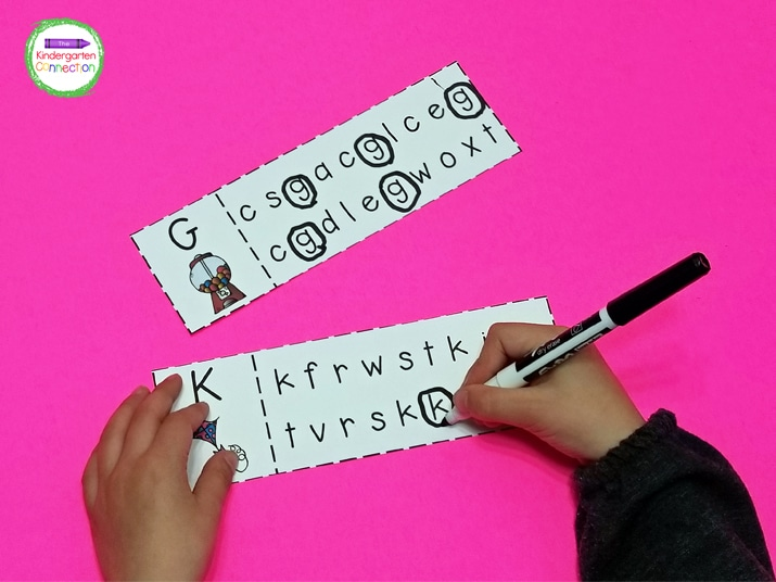 Laminate these letter matching strips and students can use dry erase markers to circle the correct matches.