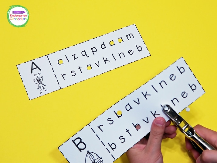 Students simply use a single hole punch to identify the matching letters on each strip.