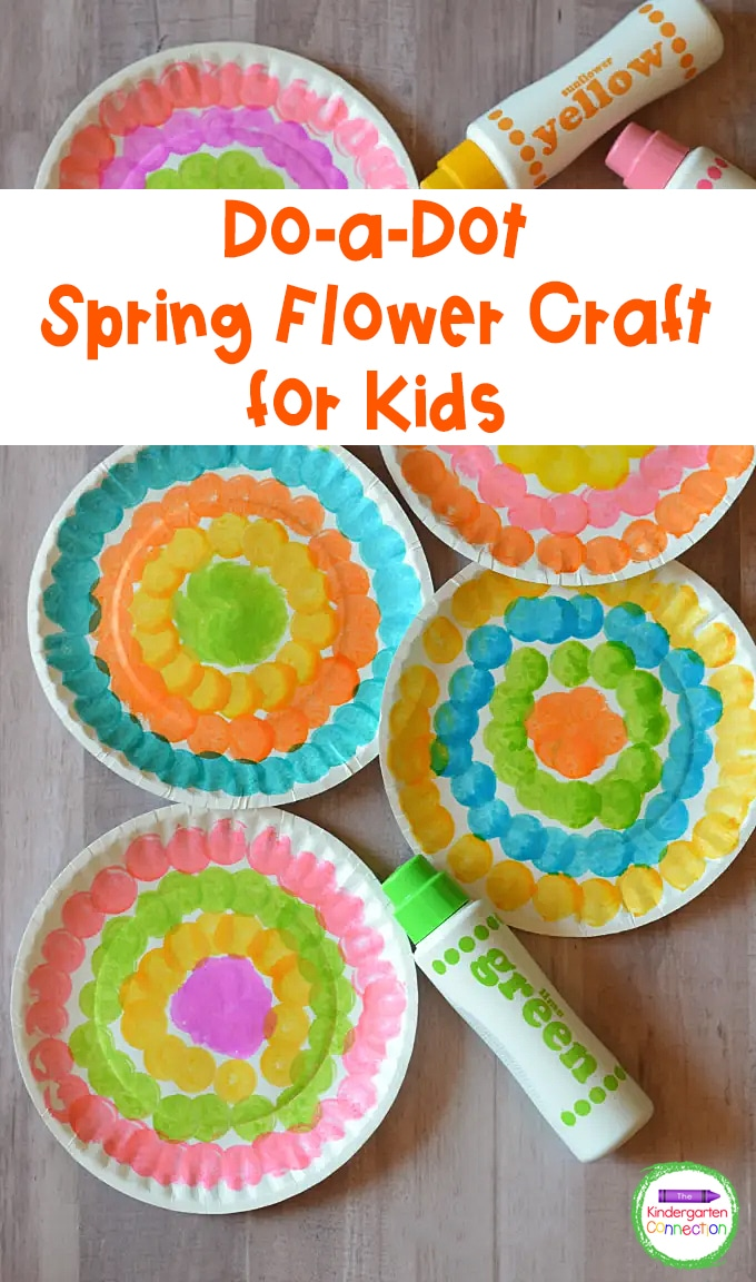 Strengthen fine motor skills while welcoming spring with this easy and beautiful Do-a-Dot Spring Flower Craft for Kids!