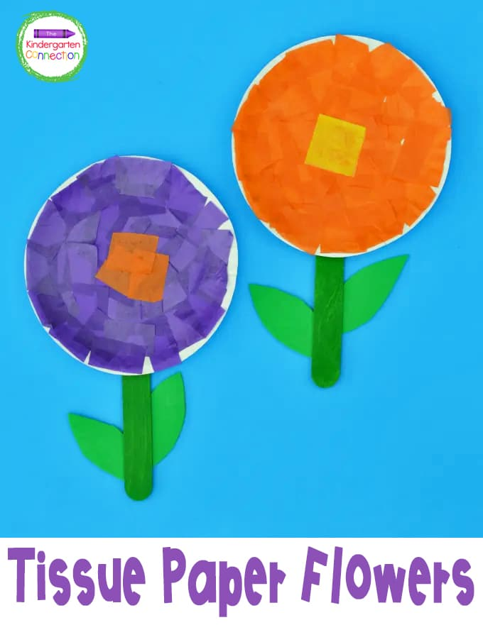 This Tissue Paper Flower Craft is great for teaching the basic parts of a flower and practicing fine motor skills in Pre-K and Kindergarten!