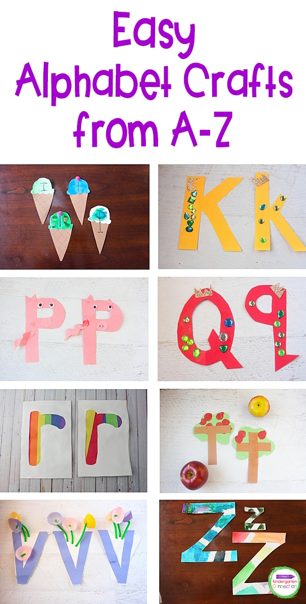 Learn the alphabet with these Quick and Easy Letter Crafts! They're great for practicing letter recognition skills in Pre-K & Kindergarten!