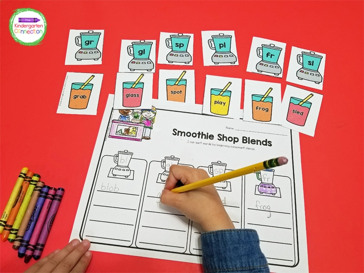"""Once students have sorted all of the """"smoothies"""" by blend, they can write down their results on the recording sheet."""