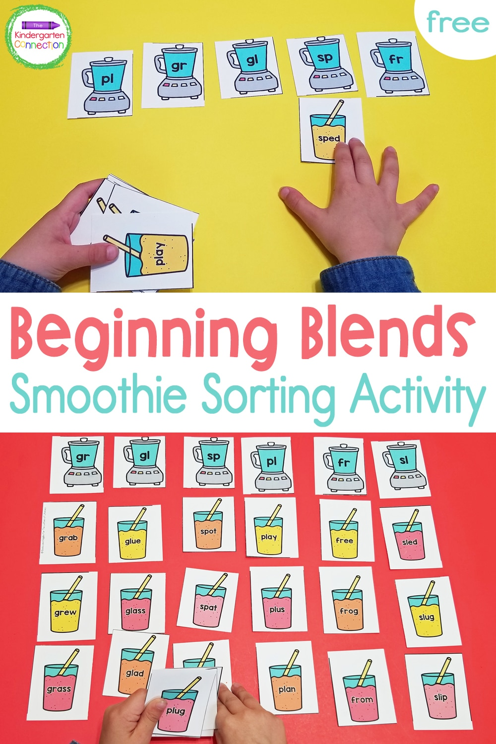 Grab our FREE Beginning Blends Smoothie Sorting Activity for your Kindergarten literacy centers, small groups, or independent practice!
