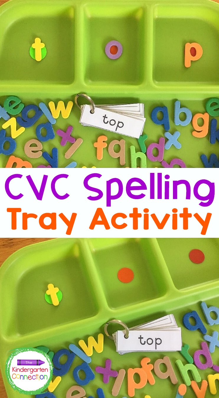 For a fun, hands-on activity to strengthen fluency skills, try this super simple CVC Spelling Tray Activity for early readers!
