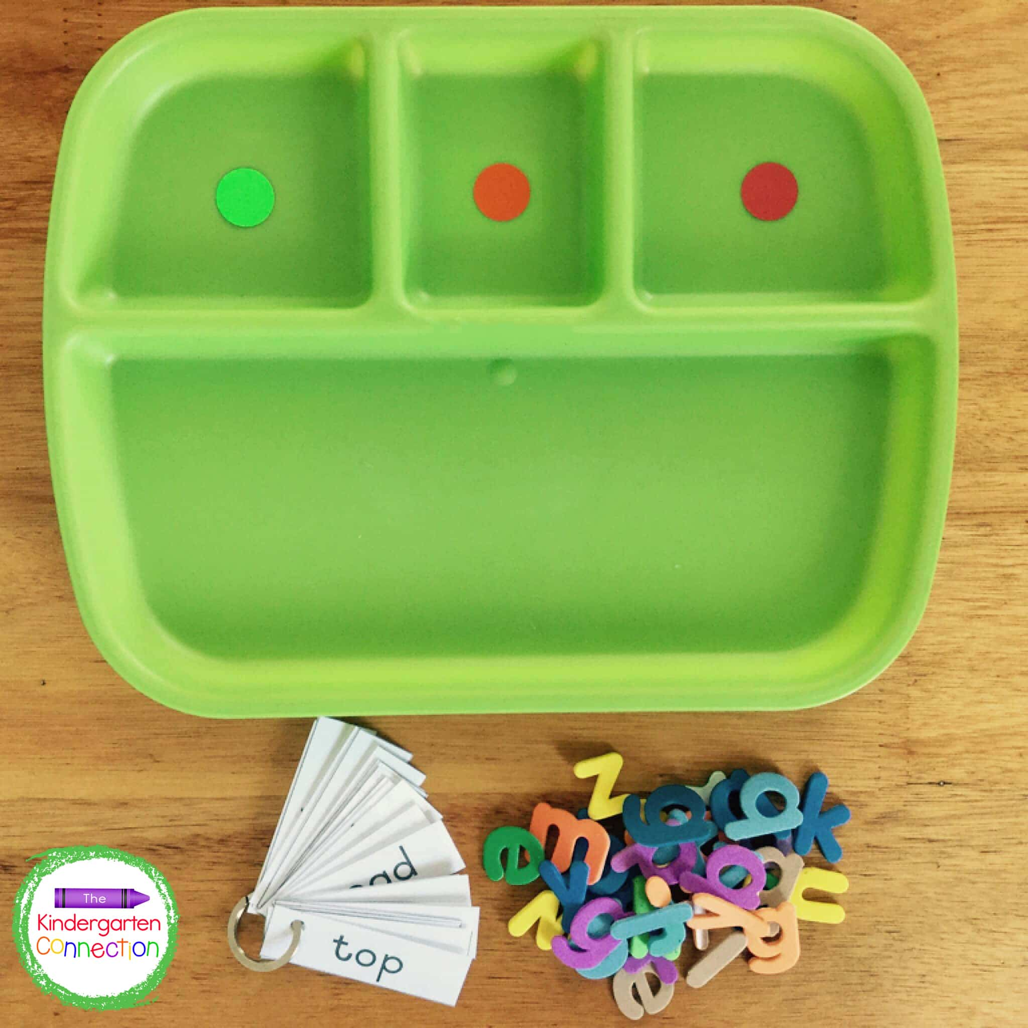 Grab some flashcards, a tray, and letter manipulatives for a simple hands-on CVC word activity.