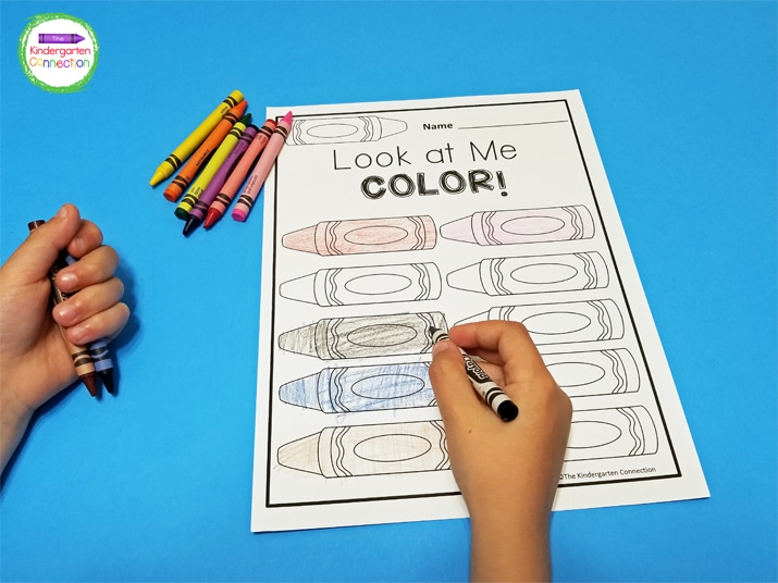 """Students can color the crayons any color of their choice in the """"Look at Me Color""""' version."""