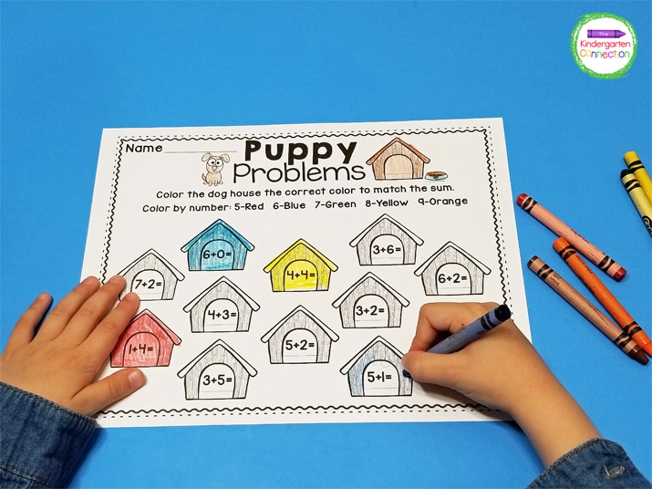Students solve the equations and write the answer inside of the puppy house before they color it.