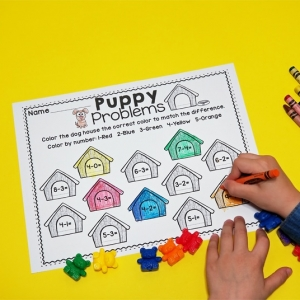 Puppy Color by Number Math Printables