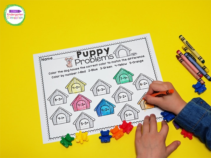This printable activity also includes a subtraction version.