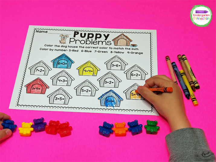 Manipulatives like counting bears can help students be more independent when solving the math equations.