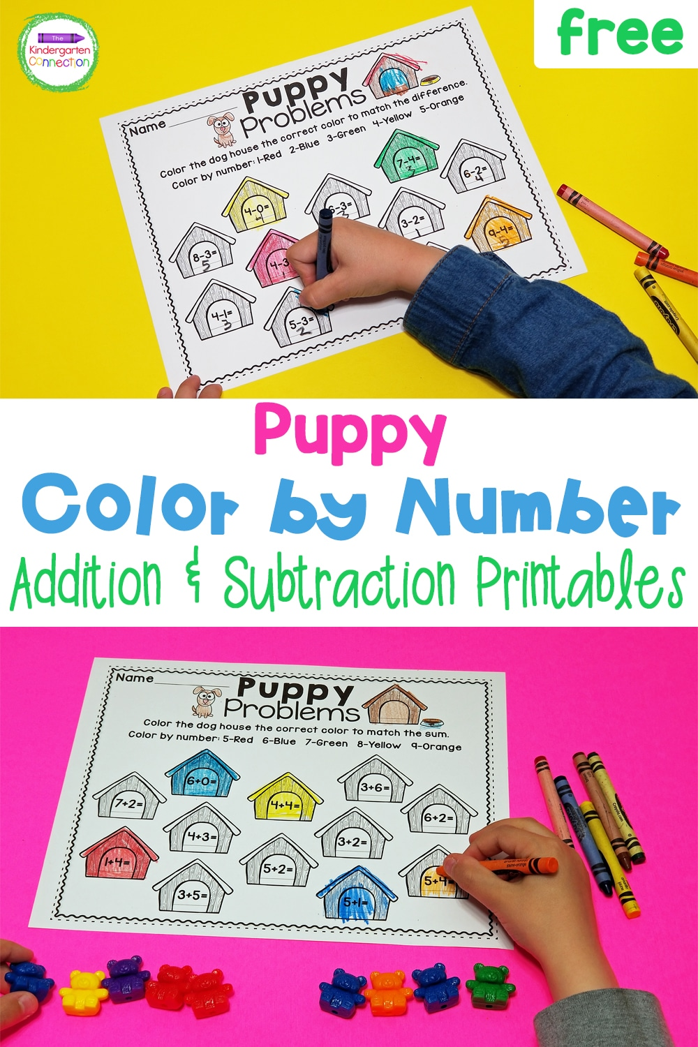 These FREE Puppy Color by Number Math Printables are available in addition and subtraction and are perfect for your early learners!
