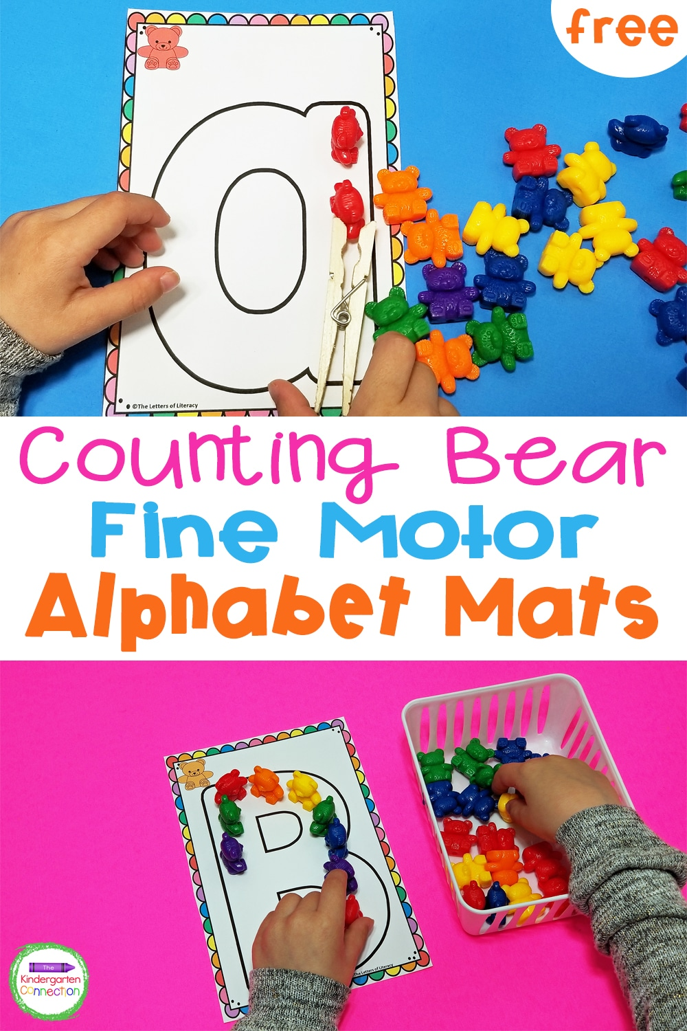 These Counting Bear Fine Motor Alphabet Mats are so much fun for learning letters and developing fine motor skills in Pre-K & Kindergarten!