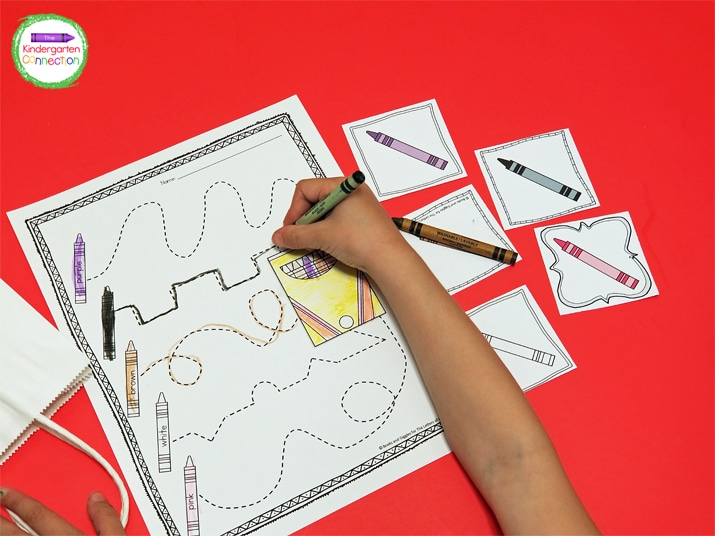 This activity comes with a pre-writing tracing printable great for early learners.