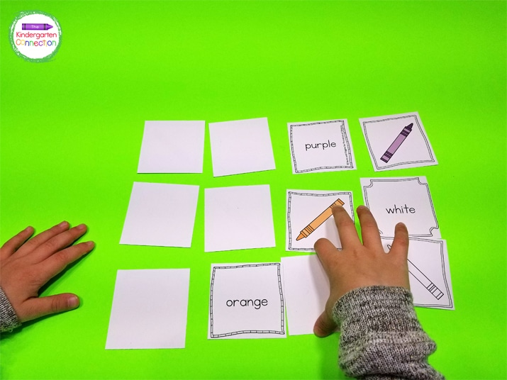 Flip the cards face down and try to find a crayon picture and color word match.