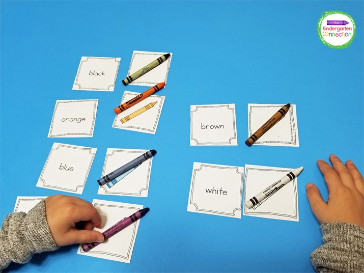 Grab a crayon and match it with the correct picture card and color word card.