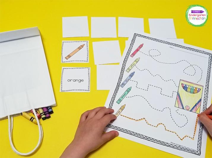 Students can trace the lines and color the crayons on the pre-writing printable.