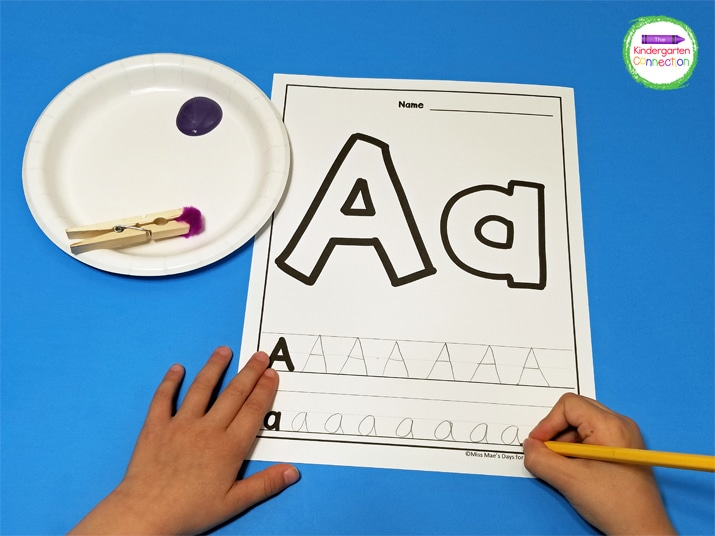 We begin with the writing part of this activity first. Students write the letter neatly on the provided lines.