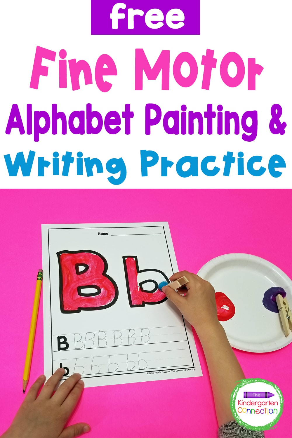 Combine letter practice, fine motor skills development, and the love of painting with this free Fine Motor Letter Painting Activity!