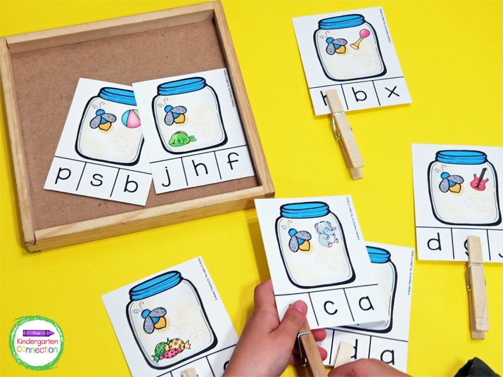 To organize the activity, put all of the clip cards in a small basket or tray.  Pull a card out and play!
