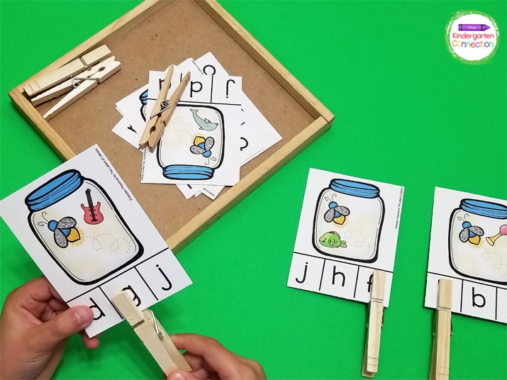 Students identify the beginning sound of the picture and use a clothespin to clip the letter that makes that sound.