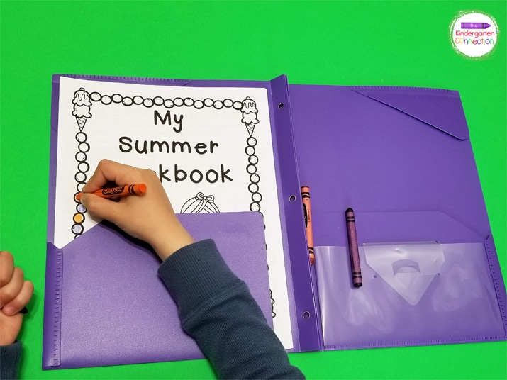 Attach the included cover page and print 2-sided to create a summer workbook to send home with students.