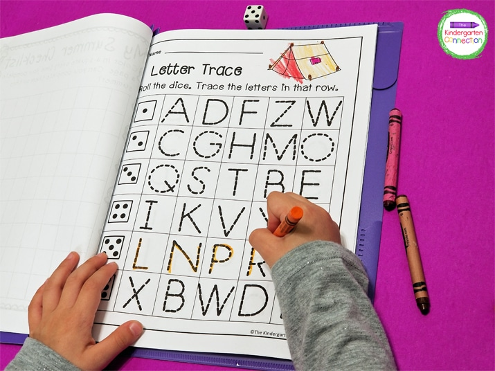 Students roll the dice, count the dots, and trace the letters in the matching row.