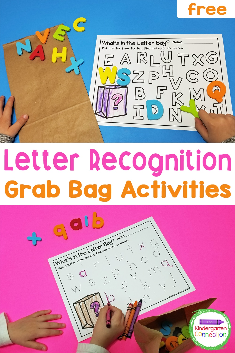 Fill a letter grab bag and pair with our free alphabet printables for a fun way to teach letter recognition and strengthen fine motor skills!