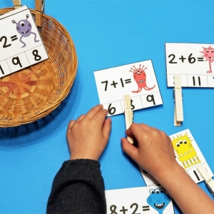 Monster Math Addition Clip Cards