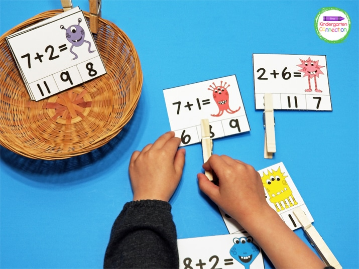Print the clip cards and grab some clothespins for an easy prep math center.