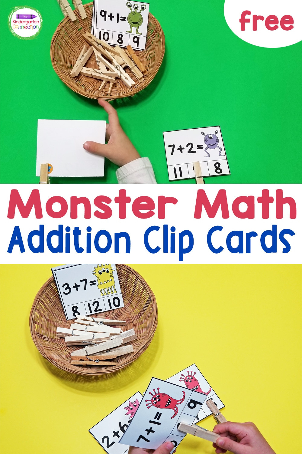 These fun and free monster math addition clip cards are great for working on beginning addition and fine motor skills in Kindergarten!