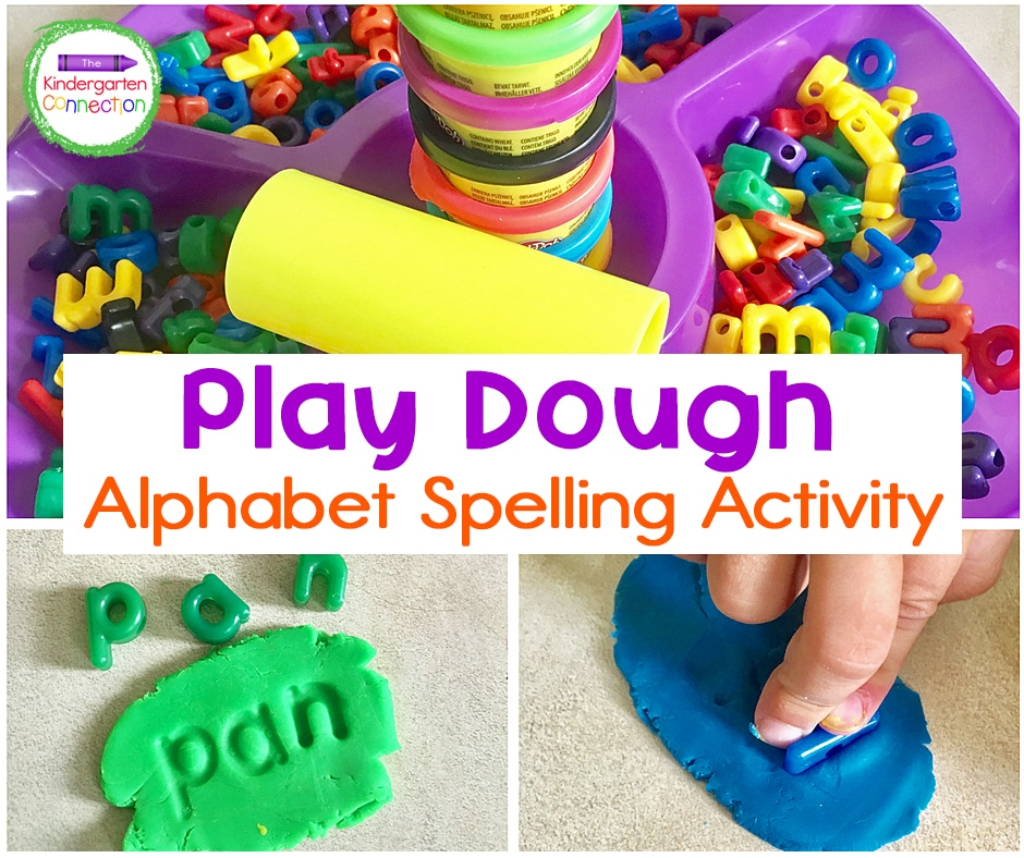 This play dough letters activity is a perfect invitation for your kiddos to practice spelling and independent learning.