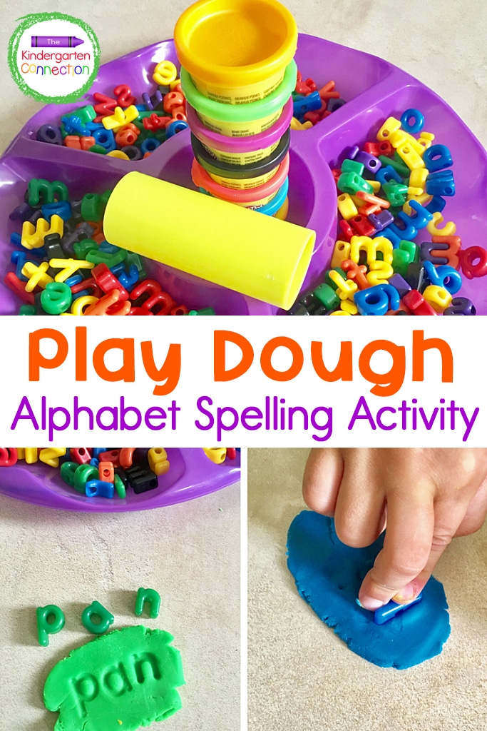 Grab some play dough and letter manipulatives and you're all set for this hands-on Play Dough Letters Spelling Activity for early learners!