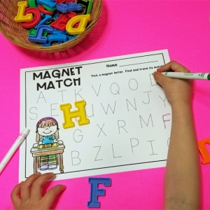 Pull and Trace Alphabet Magnet Match