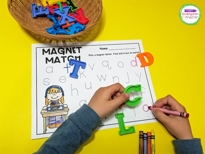 We love to use crayons to trace our letters, making this alphabet activity even more engaging!