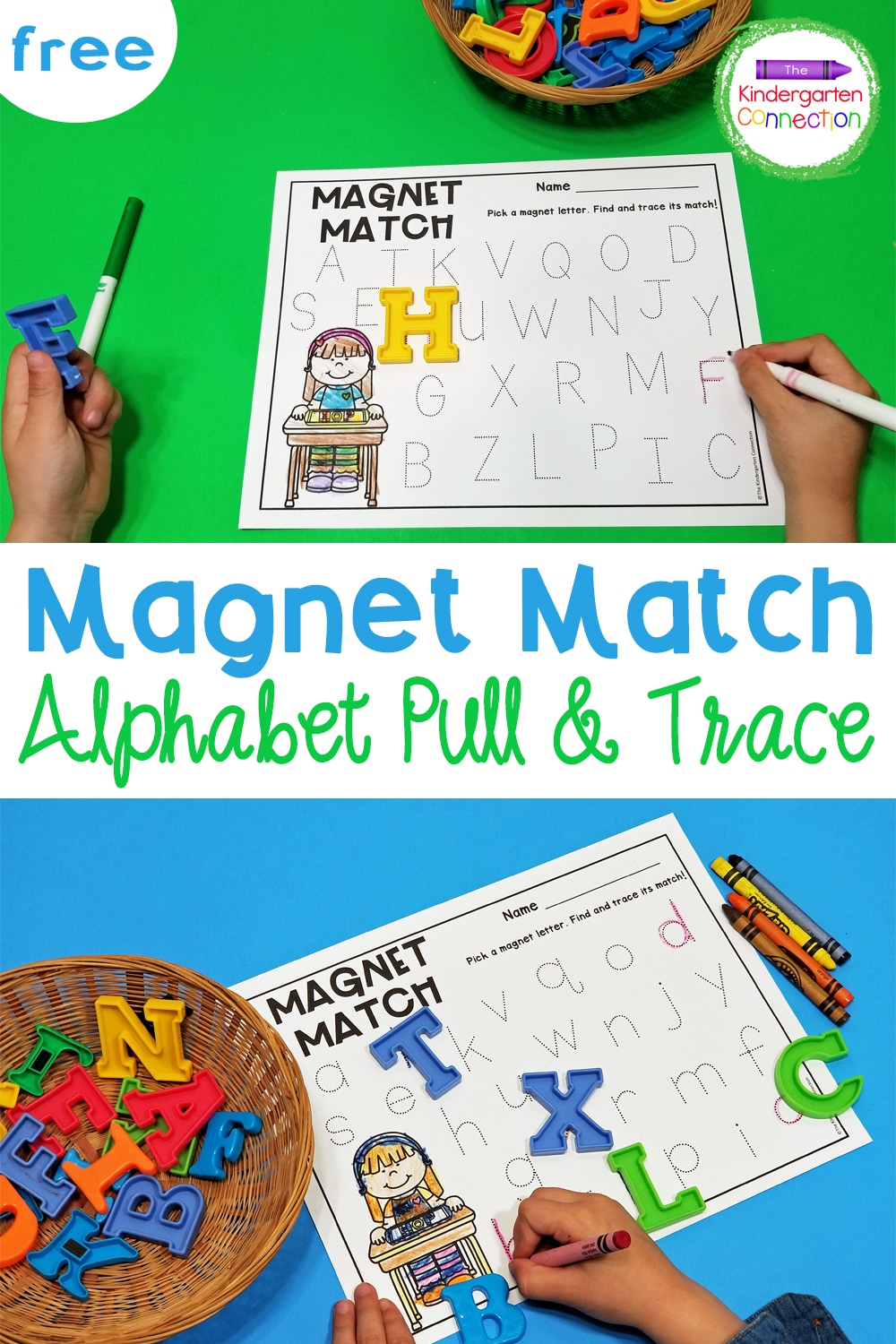 This free Pull and Trace Alphabet Magnet Activity is a great literacy center for Pre-K & Kindergarten students just learning their letters!